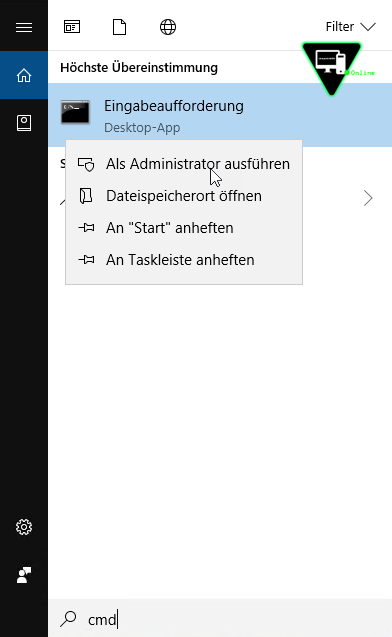 CMD Suche in WIndows 10